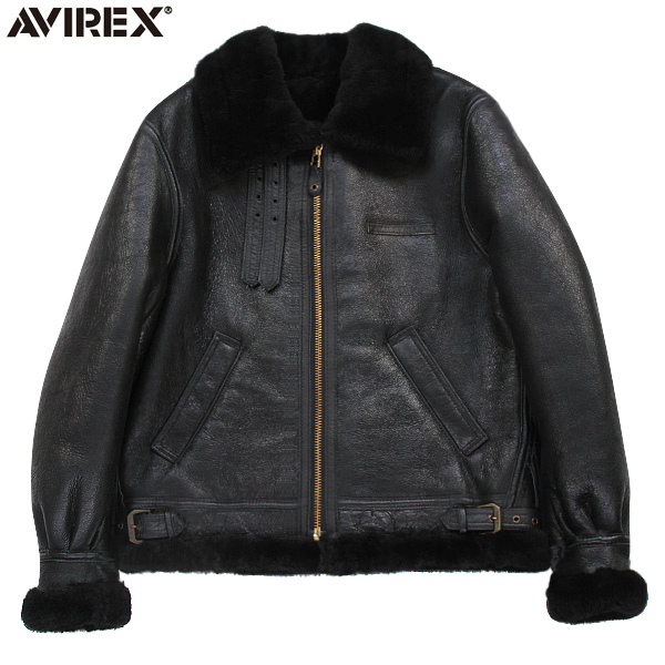 "AVIREX アビレックス 2104 B-3 シープスキン レザージャケット BLACK 極寒の高空飛行時に使われた通称""ボマージャケット"" 妥協のないディティール・素材使いがまさに一生物 《WIP03》【クーポン対象外】"
