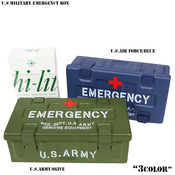 Item << WIP03 >> which a design embezzles familiar logo mark and Red Cross  mark in the new U S MILITARY EMERGENCY box (first-aid kit) military, and