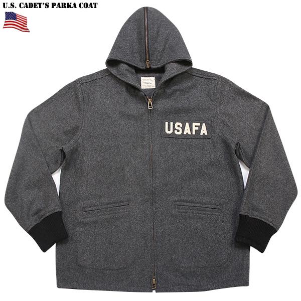 新品 米軍 USAFA(空軍士官学校) カデットパーカー GREY 文字通り士官候補生が 着用するウールコートをデザインソース 特徴的なフードは、ジッパー開閉が可能《WIP03》