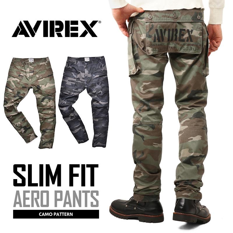 AVIREX お買い得品 アビレックス 6166125 AERO PANTS エアロ クーポン対象外 カーゴパンツ T CAMOUFLAGE 日本最大級の品揃え スリムフィット《WIP03》