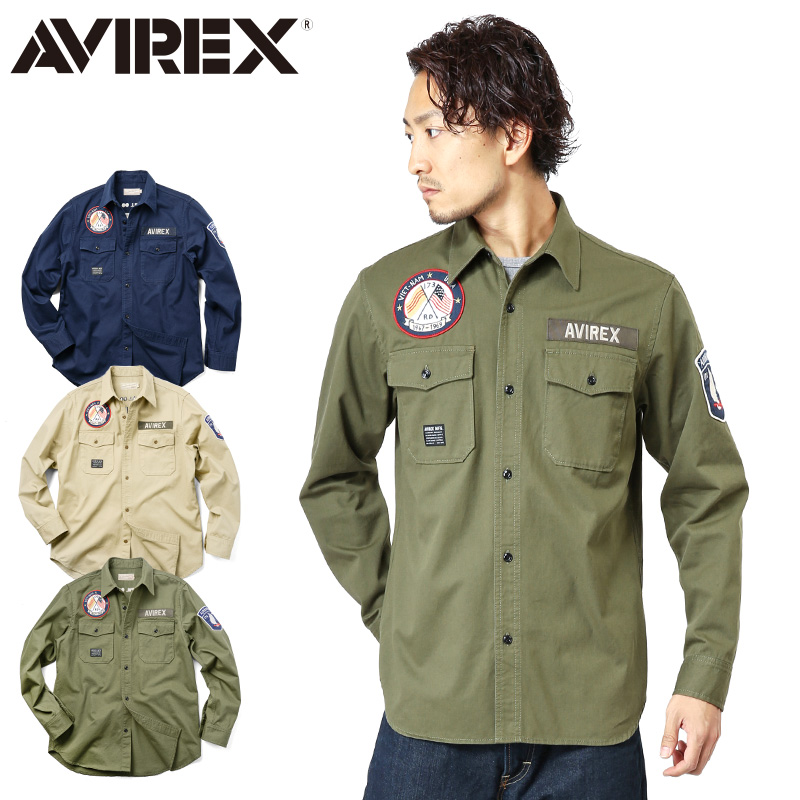 AVIREX アビレックス 6165135 L/S VIETNAM SOUVENIR シャツ《WIP03》【クーポン対象外】
