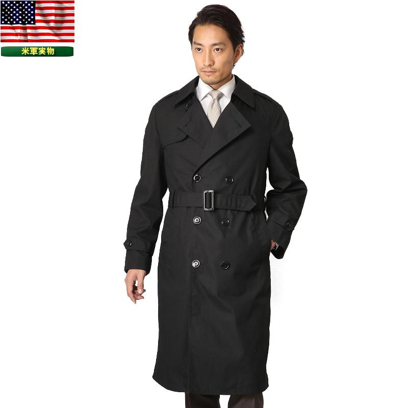 実物 新品 米軍U.S. NAVY ブラックトレンチコート サイズ:34~40【クーポン対象外】《WIP03》