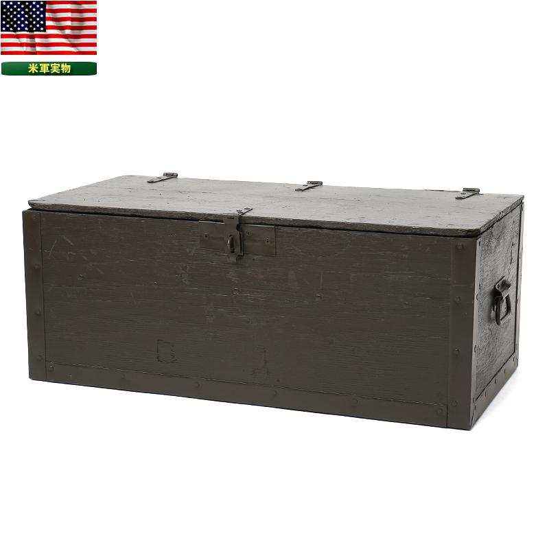 【25%OFFクーポン対象】実物 米軍G.I. フットロッカー ウッドボックス USED アメリカ軍 ミリタリー ボックス BOX 木製 インテリア 米軍放出品 【WIP03】【中古】