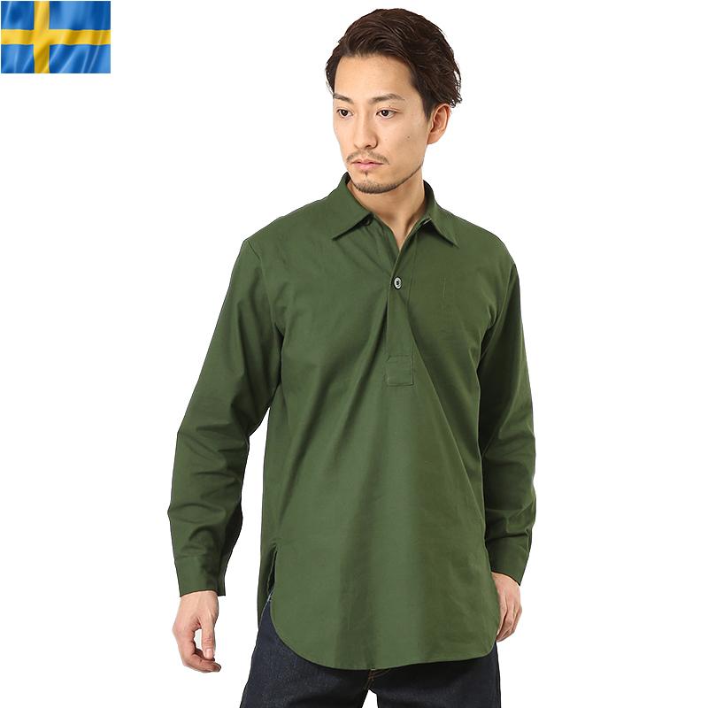実物 新品 スウェーデン軍 M-55プルオーバーシャツ クーポン対象外 T 日本正規品 グリーン《WIP03》 商い