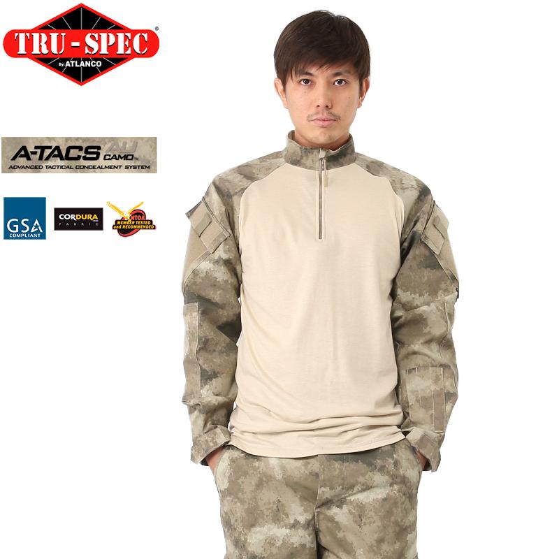 TRU-SPEC トゥルースペック 1/4 ZIP COMBAT シャツ A-TACS AU 【2538】 【クーポン対象外】