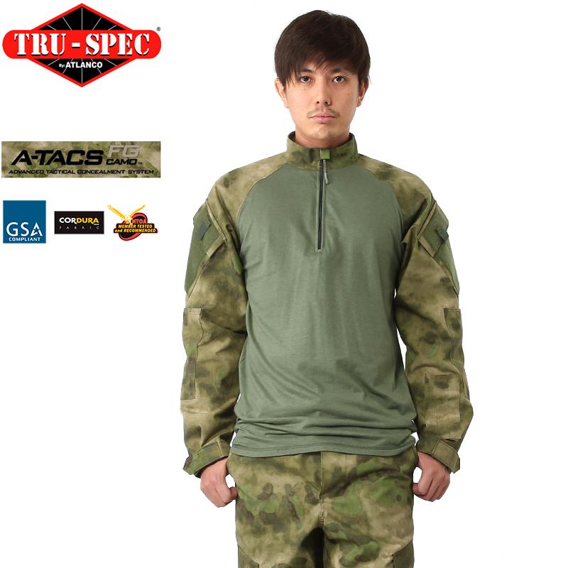TRU-SPEC トゥルースペック 1/4 ZIP COMBAT シャツ A-TACS FG 【2575】 【クーポン対象外】