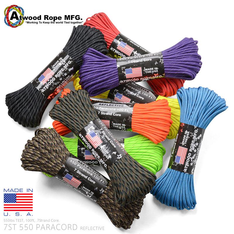 ATWOOD ROPE MFG. アトウッド ロープの反射材入りパラコード ロープ 爆売りセール開催中 7Strand クーポン対象外 100フィート パラコード 550Lbs REFLECTIVE 超激安 T