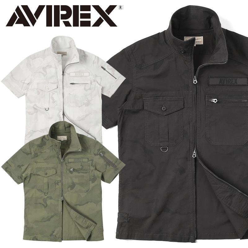 AVIREX アビレックス 6185093 S/S フルジップ ミリタリーシャツ TWO TONE CAMO【クーポン対象外】