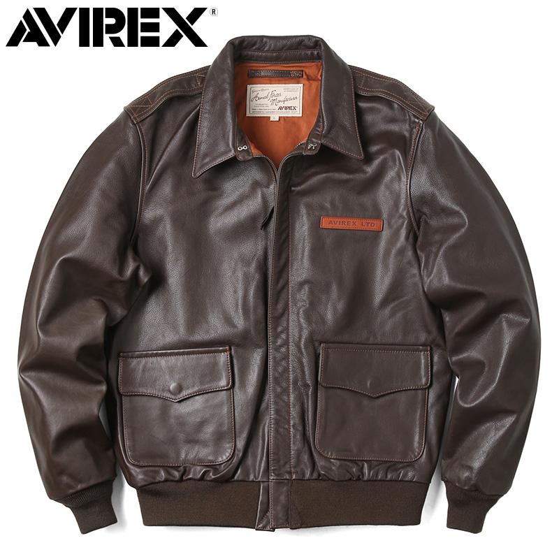 AVIREX アビレックス 6181061 A-2 レザーフライトジャケット PLAIN / メンズ ミリタリー アウター 革ジャン【クーポン対象外】
