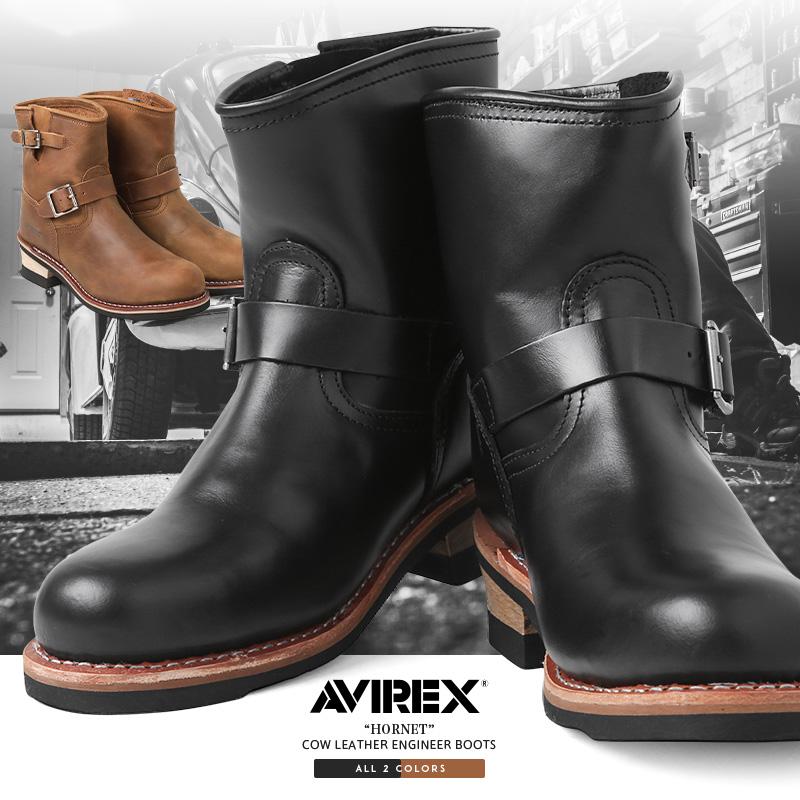 【送料無料】AVIREX アビレックス AV2225 HORNET ショート レザーエンジニアブーツ【クーポン対象外】