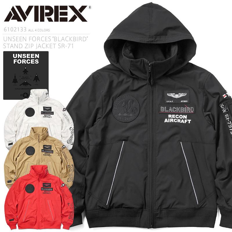"AVIREX アビレックス 6102133 UNSEEN FORCES ""BLACKBIRD"" TYPE MA-1 スタンドジップジャケット SR-71【クーポン対象外】"
