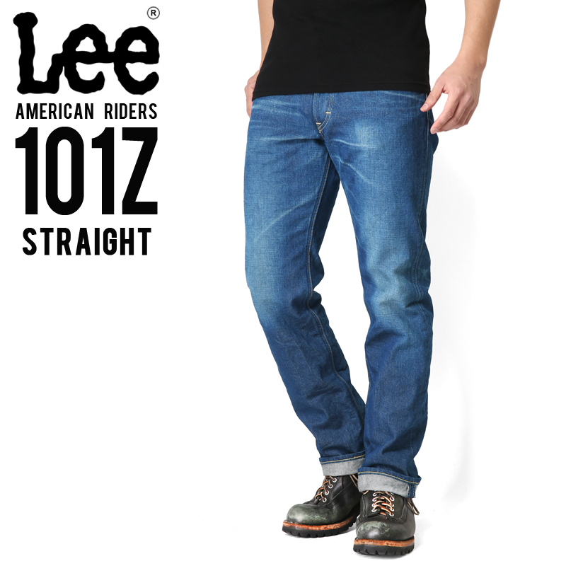 【15%OFFクーポン対象!】Lee リー AMERICAN RIDERS 101Z ストレート デニムパンツ 中色ブルー【LM5101-446】