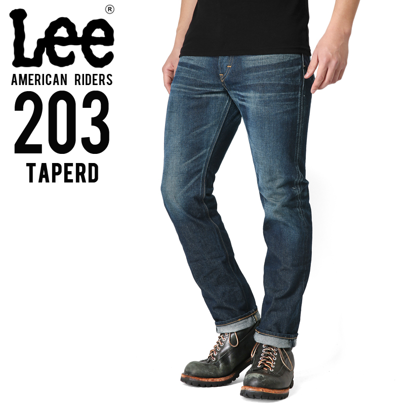 Lee リー AMERICAN RIDERS 203 テーパード デニムパンツ 濃色ブルー【LM5203-526】