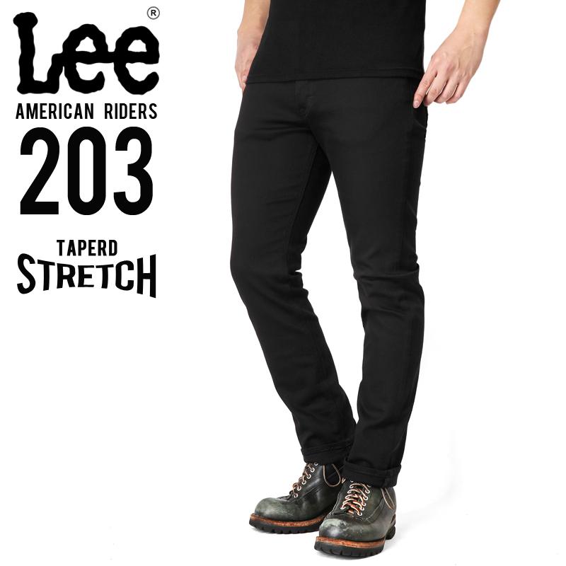 Lee リー AMERICAN RIDERS 203 テーパードストレッチ パンツ ブラック【LM5203-675】