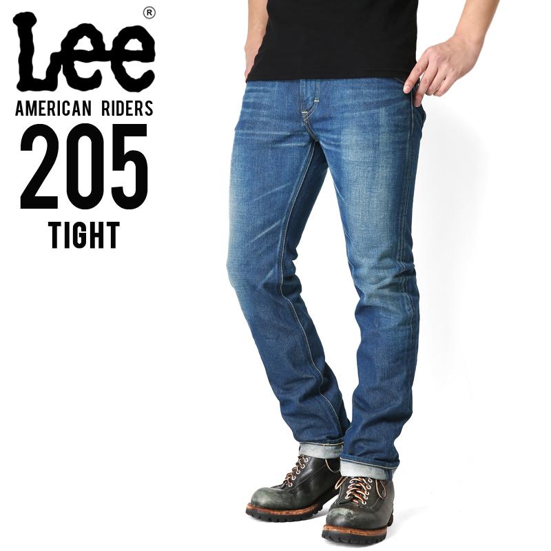 Lee リー AMERICAN RIDERS 205 タイトストレート デニムパンツ 中色ブルー 【LM5205-446】
