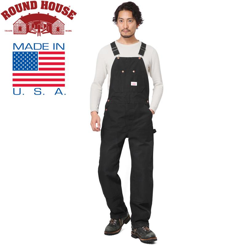 【20%OFFクーポン対象】Round House ラウンドハウス 17RH383 米国製 HEAVY DUTY DUCK BIB オーバーオール BLACK