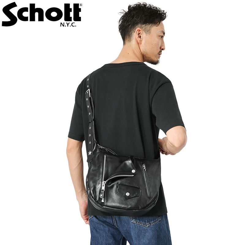 Schottの代名詞でもあるONE STARをモチーフにしたバッグ 国内正規品 Schott ショット 3109063 プレゼント LEATHER ショルダーバッグ ライダース レザー RIDERS BAG SHOULDER お洒落 クーポン対象外