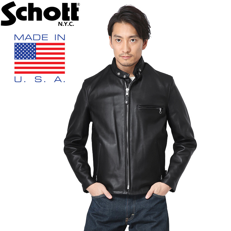 Schott ショット 641 シングルレザーライダース 6061 BLACK(クーポン対象外)