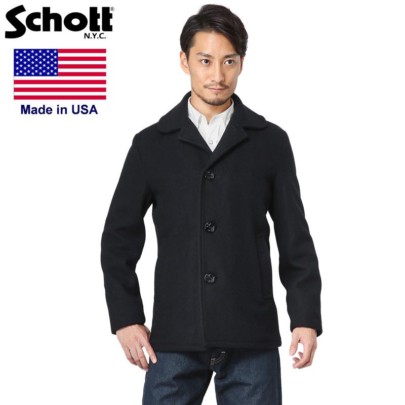 Schott ショット 758US 日本別注 24oz スリムフィット シングル ピーコート【7537】《WIP03》メンズ アウター Pコート 防寒 秋 冬(クーポン対象外)