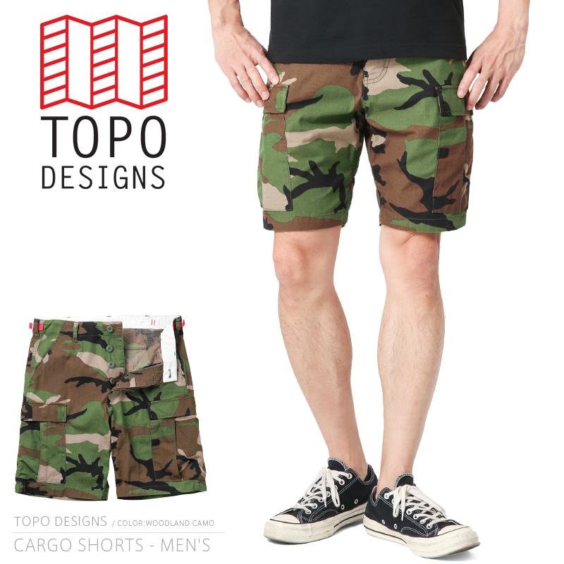TOPO DESIGNS トポデザイン CARGO SHORTS カーゴショーツ / BDUショートパンツ WOODLAND CAMO