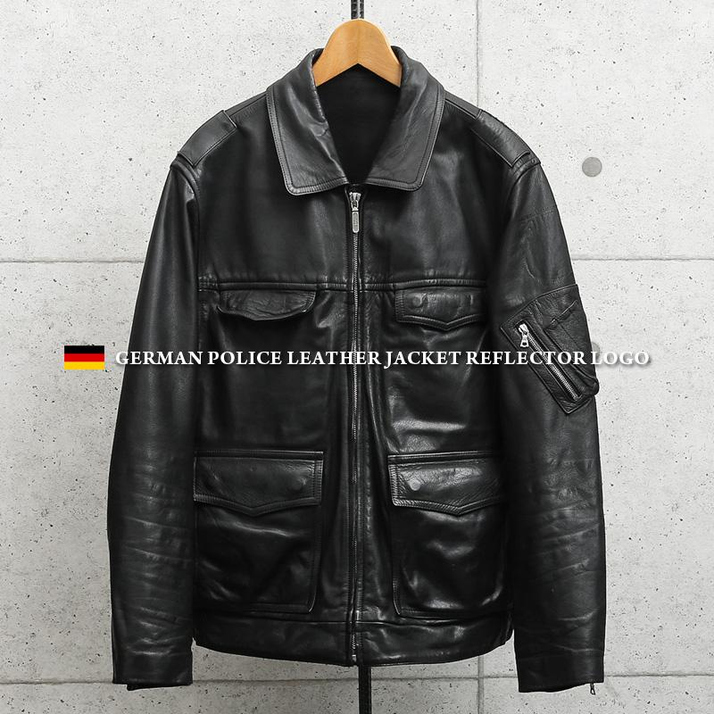 実物 USED ドイツ警察 ブラック レザージャケット リフレクターバックロゴ 【クーポン対象外】/古着 ヴィンテージ 革ジャン バイカー 大きめ
