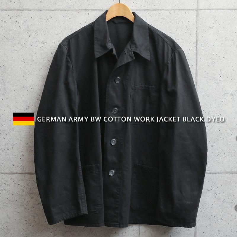 ドイツ軍より放出されたワークジャケット 実物 新品 デッドストック ドイツ軍 BW コットン ワークジャケット BLACK染め 黒 ギフト ジャケット シンプル おしゃれ 新色 デザイン クーポン対象外 ミリタリー I ブラック
