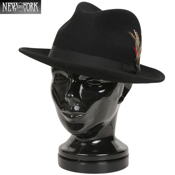 【店内20%OFFセール開催中】New York Hat ニューヨークハット 5319 LITE FELT FEDORA ハット ブラック 【5319】 フェルトハットの中でも特に人気のモデル ツバの上げ下げなどのアレンジも可能《WIP03》