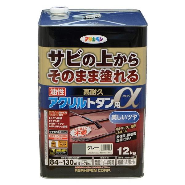 アサヒペン 油性塗料 油性高耐久アクリルトタン用α 12kg グレー B