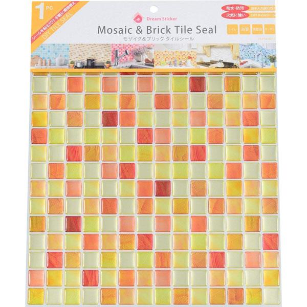 手軽に自分でプチリフォーム モザイクタイルシール BST-6 ×36個 小箱 クラックオレンジ Crack orange Dream Sticker