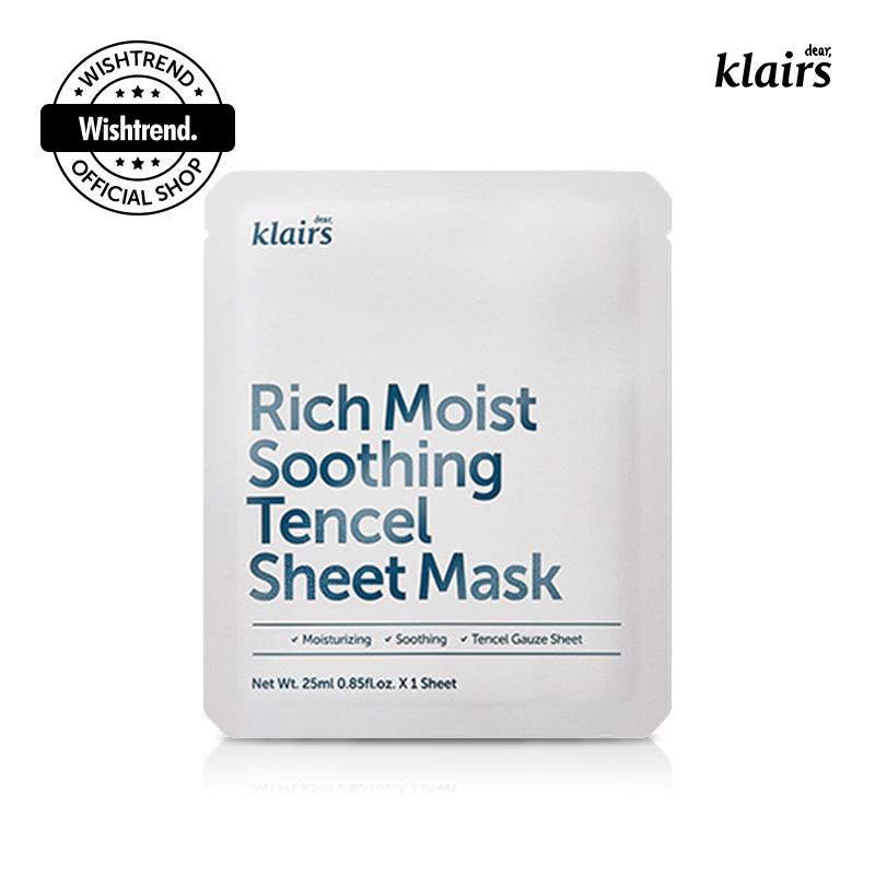 クレアス テンセルシートマスクセラミド成分が配合されて 水分ケアはもちろん肌の調子を良くしてくれるシートマスク 崩れてしまった肌の調子を良くしてくれましょう リッチモイストスージングテンセルシートマスク25mlX20枚セット 発売モデル 韓国コスメ シートマスク フェイシャルマスク フェイスマスク パック 水分補給 年間定番 Rich klairs Tencel Mask dear 25mlX20ea Soothing フェイスパック Sheet Moist