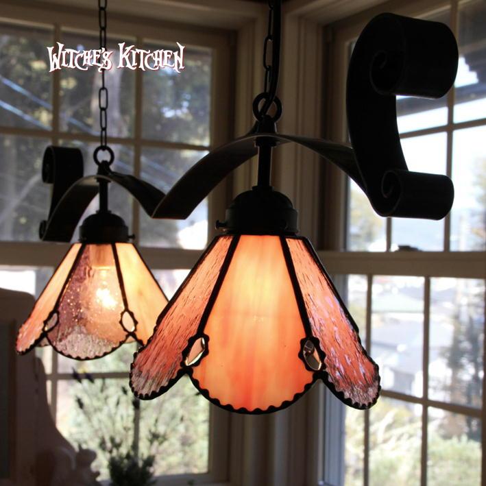 ペンダントライト 【Twin Claret Kiss・クラレットキス】 LED対応 ロマンチック 2灯 ステンドグラス ランプ