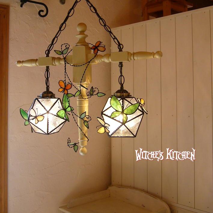 ペンダントライト 【2Lights Honey Trap・ハニートラップ】 LED対応 蝶 2灯 ステンドグラス ランプ