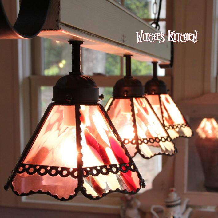 ペンダントライト 【3Lights Love Potion・ラブポーション】 LED対応 ロマンチック ハート 3灯 ステンドグラス ランプ