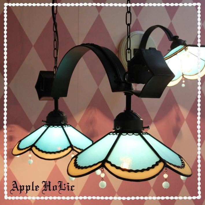 ペンダントライト 【2Lights Alres・アルル】 LED対応 クラシック レース 2灯 ステンドグラス ランプ