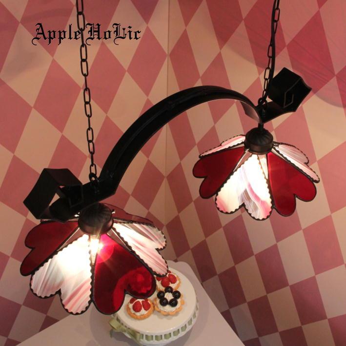 ペンダントライト 【2Lights Bambietta・バンビエッタ】 LED対応 ハート 2灯 ステンドグラス ランプ