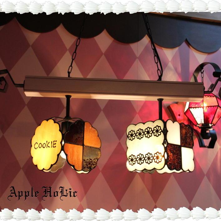 ペンダントライト【2Lights EAT ME・イートミー】LED対応 不思議の国のアリス スイーツ 2灯 ステンドグラス ランプ