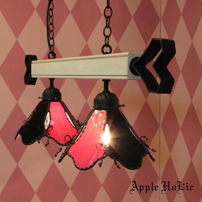 ペンダントライト 【2Lights Elise・エリーゼ】 LED対応 リボン 2灯 ステンドグラス ランプ