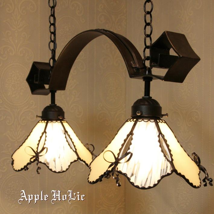 ペンダントライト 【2Lights Marielle・マリエル】 LED対応 2灯 リボン ステンドグラス ランプ