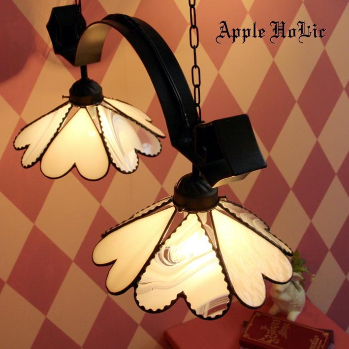 ペンダントライト 【2Lights Marguerite・マルグリット】 LED対応 ロマンチック ハート ステンドグラス ランプ