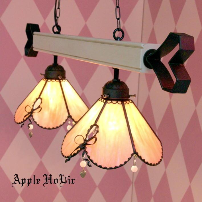 ペンダントライト 【2Lights Monique・モニーク】 LED対応 ロマンチック 2灯 リボン ステンドグラス ランプ