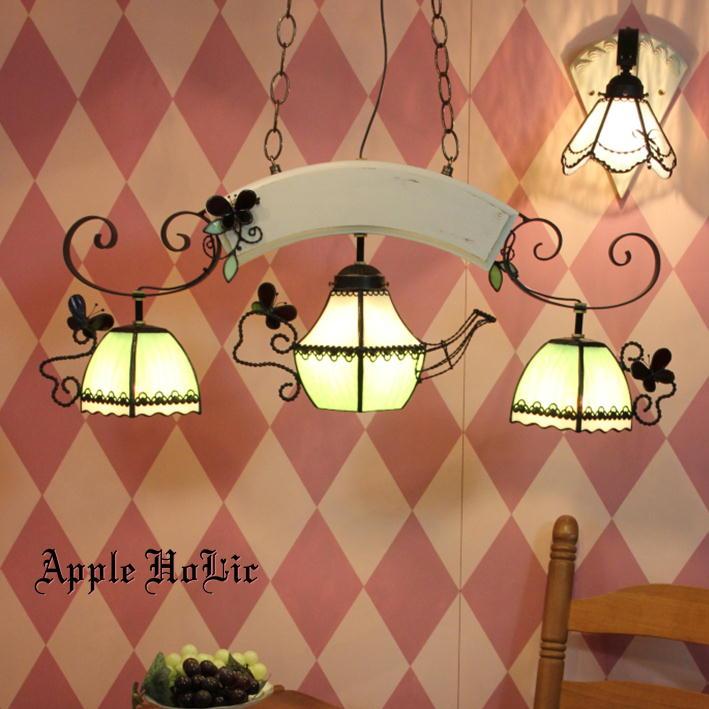 ペンダントライト 【3Lights Mrs.Green Pot ・ミセス グリーンポット】 LED対応 ティーパーティー 3灯 ステンドグラス ランプ