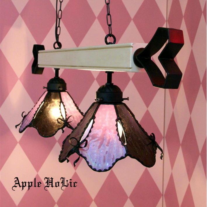ペンダントライト 【2Lights Rosie・ロージー】 LED対応 リボン 2灯 ステンドグラス ランプ