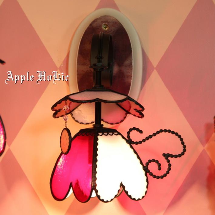 ブラケットライト 【Princess Heart・プリンセス ハート】 LED対応 ハート 壁掛け照明 ステンドグラス ランプ