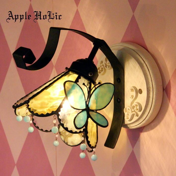 ブラケットライト 照明 おしゃれ 【Labyrinth・ラビリンス】 LED対応 蝶 ロマンチック 壁掛け照明 ステンドグラス ランプ