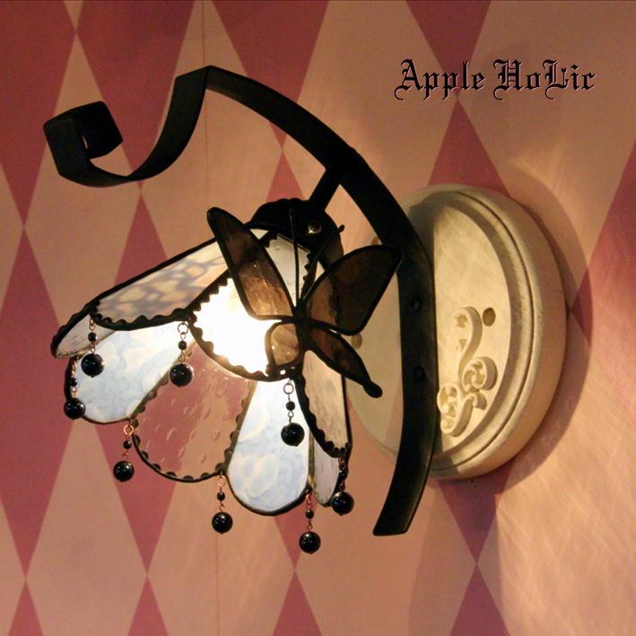 ブラケットライト 【Moon Light・ムーンライト】 LED対応 蝶 壁掛け照明 ステンドグラス ランプ