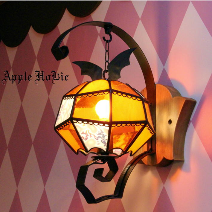 ブラケットライト 【Strange Pumpkin・ストレンジパンプキン】 LED対応 ハロウィン 壁付け照明 ステンドグラス ランプ