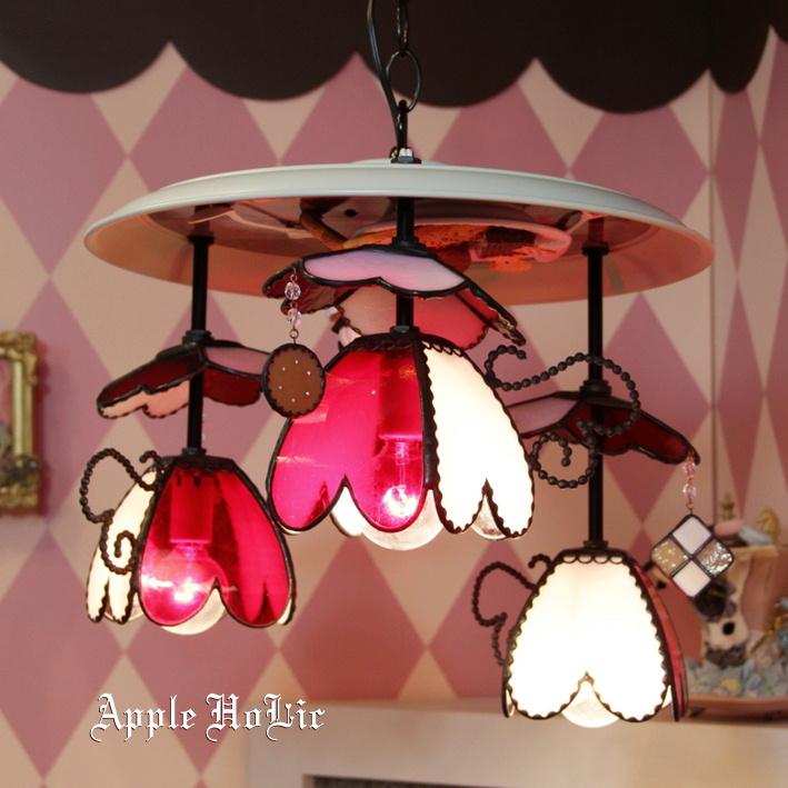 シャンデリア 【Princess Heart・プリンセス ハート】 LED対応 ハート 3灯 ステンドグラス ランプ