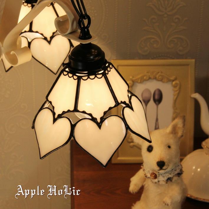 シャンデリア 【Bernadette・ベルナデット】 LED対応 ハート 3灯 ステンドグラス ランプ
