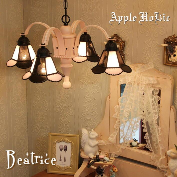 シャンデリア 【Beatrice・ベアトリーチェ】 LED対応 リボン 4灯 ステンドグラス ランプ