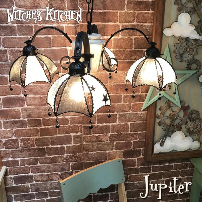 シャンデリア 【Jupiter・ジュピター】 LED対応 4灯 ペンダントライト 星 ステンドグラス ランプ
